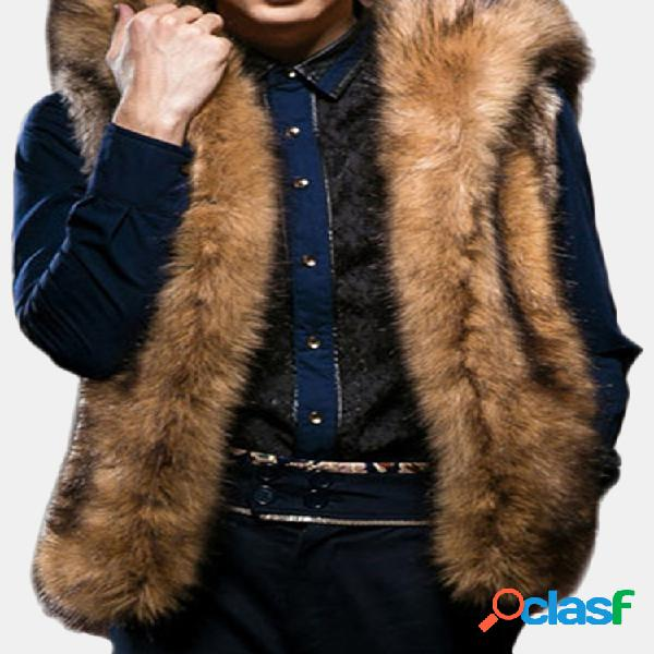 Mens faux fur big casaco com capuz inverno espessamento quente moda casual colete de pele