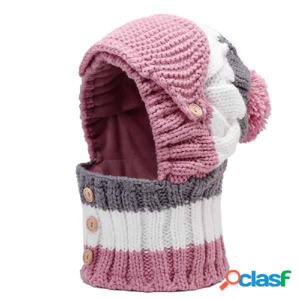 Mulheres inverno máscaras quentes de malha chapéu gola cachecol conjunto ciclismo ao ar livre à prova de vento plus capuz chapéu