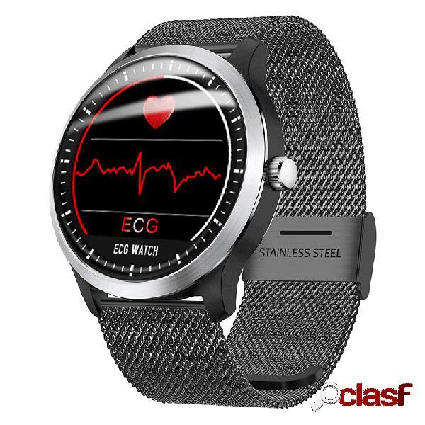 Multifunções aptidão tracker relógio inteligente monitor de ecg monitor de sono de aço inoxidável hr monitor de atividade 3d ui watch