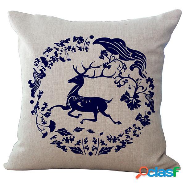 """17 """"cotton linen capa de almofada luxo estilo europeu bohemian deer impresso casa decor fronha"""