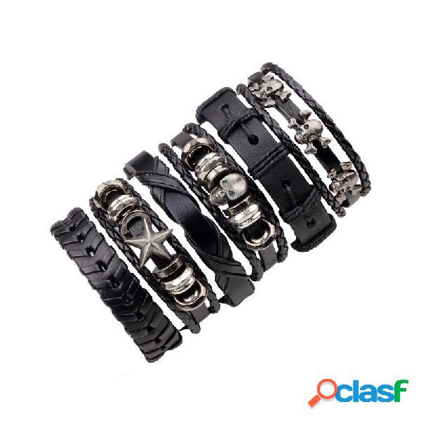 6 pçs / set multicamadas pulseira de couro do crânio do punk estrela tecido pulseiras ajustáveis pulseira para homens