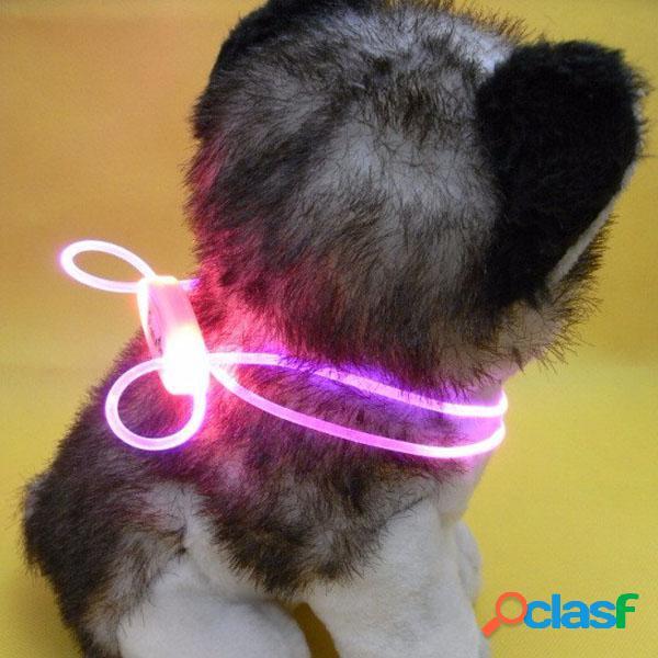 Dog led ajustável personalizado collar polyester pet light-up piscando glow safety