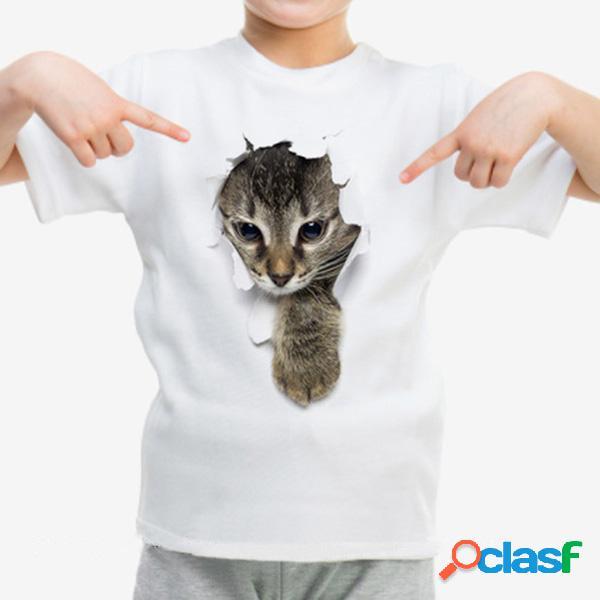 Gato 3d unissex com impressão infantil meninos meninas crianças camisetas de manga curta para 1 a 9 anos