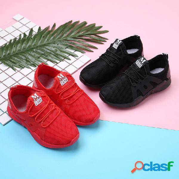 Meninos meninas lace up decoração de malha deslizamento em sapatos casuais comfy sport