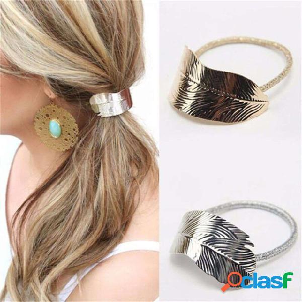 Moda folha de cabelo faixa de cabelo laço de cabelo elástico rabo de cavalo titular acessórios para o cabelo para as mulheres
