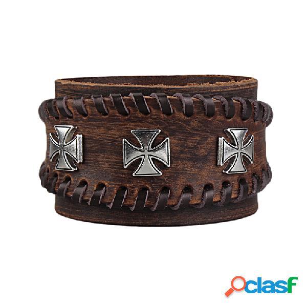 Punk cross charme pulseira de couro genuíno pulseira ajustável do vintage cuff pulseiras para homens