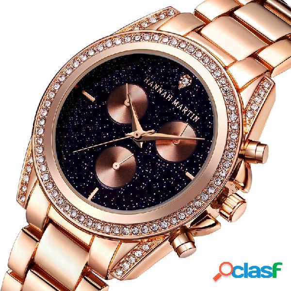 Relógios minimalistas de aço inoxidável do rhinestone dos relógios de ouro do quartzo das mulheres de luxo relógios minimalistas de aço inoxidável