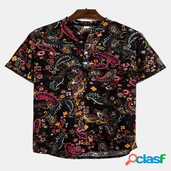 Algodão masculino étnico floral casual manga curta henley camisa
