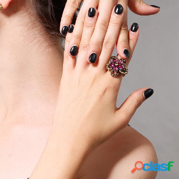 Anel de gemstone estilo retro unhas anel de pedras preciosas estilo retro para mulheres