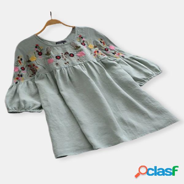 Blusa bordado bolha bolha vintage tamanho plus