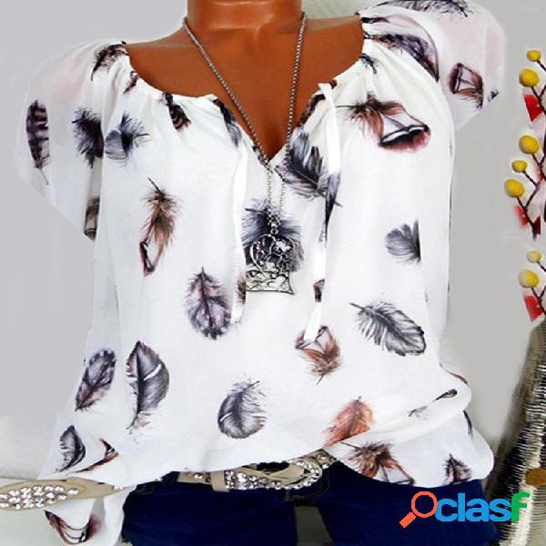 Blusa casual com estampa de penas com decote em v plus tamanho
