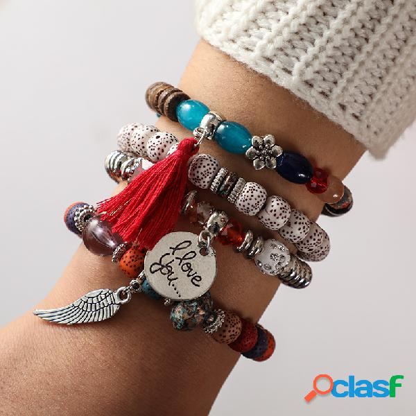 Boêmio multi layer frisado pulseira africano borlas pulseira bodhi folha pulseira para as mulheres