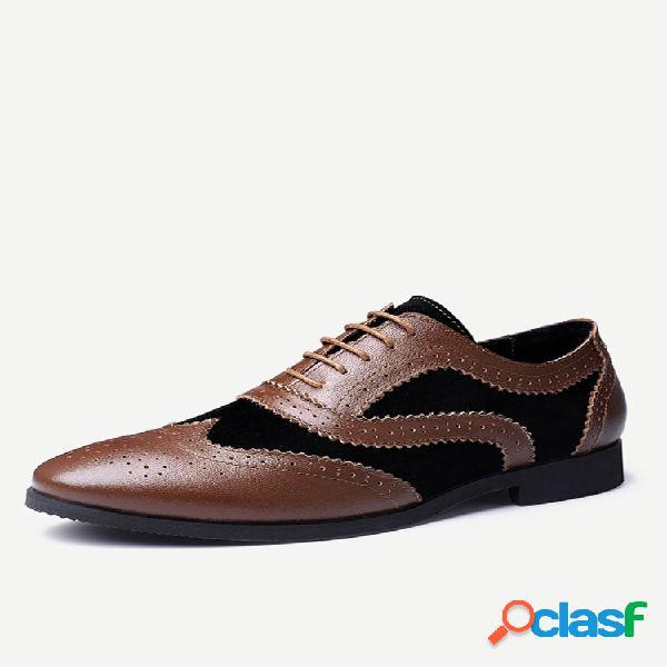Calçados femininos masculinos com bloqueio de cores estilo oxfords elegantes com cordões empresariais