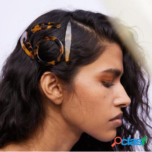 Estilo retro cabelo da leopardo da resina do grampo triângulo marrom cabelo acessórios para mulheres