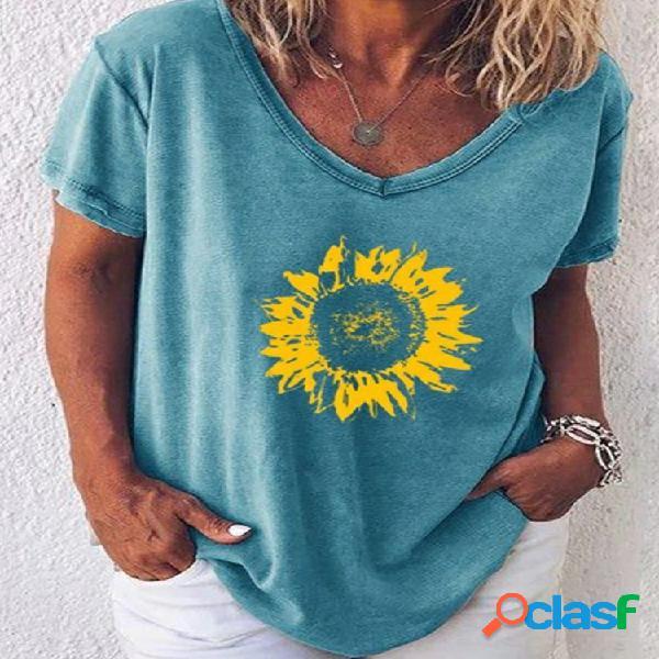 Girassóis com decote em v solto verão plus blusa tamanho