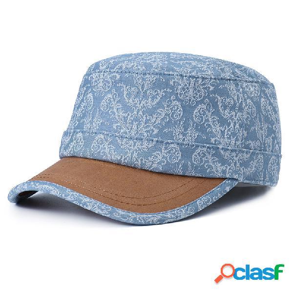 Homens mulheres algodão estampa protetor solar chapéu plana casual ao ar livre travle viseira chapéu