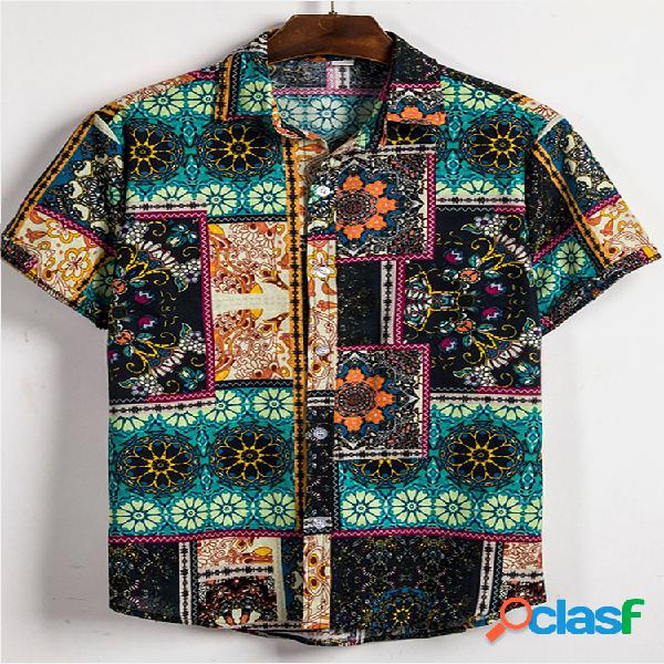 Impressão étnica floral masculina manga curta casual camisa