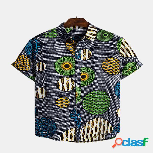 Lapela casual de manga curta estampada masculina engraçado círculo camisa