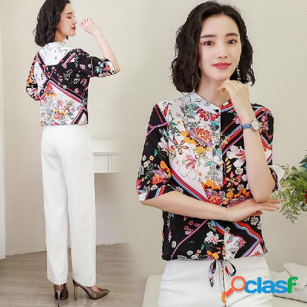 Mangas de seda impressa camisa das mulheres soltas slim tie retro camisa