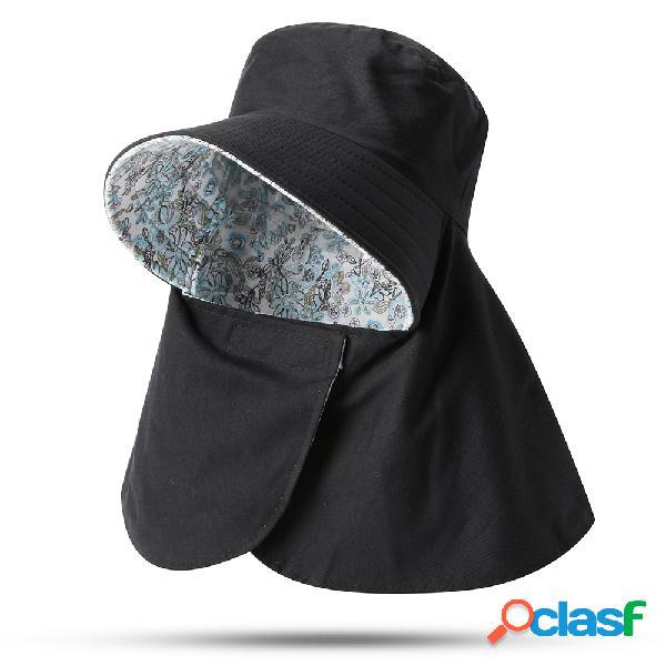 Mulher capa rosto protetor solar uv proteção praia chapéu dobrável topo destacável vazio