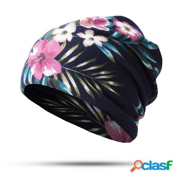 Mulher cotton impresso chapéu feminino lenço no pescoço dupla-utilização orelha proteção