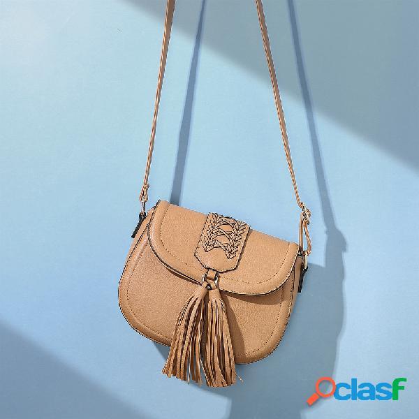 Mulheres tassel woven grande capacidade crossbody bag