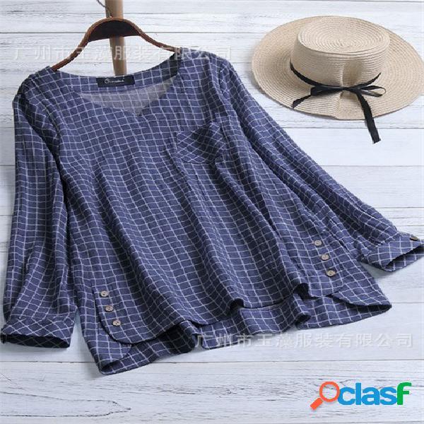 Simples botão de bolso decoração de linho de algodão xadrez camisas casuais