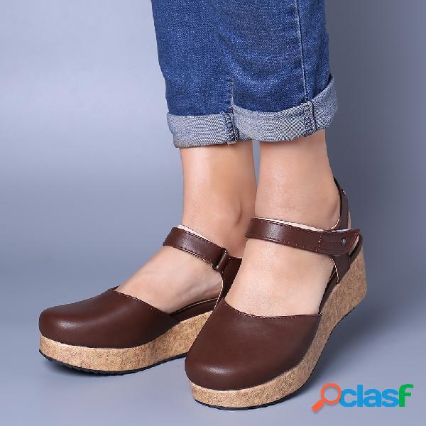 Tamanho grande vintage fechado toe gancho loop platform sandals
