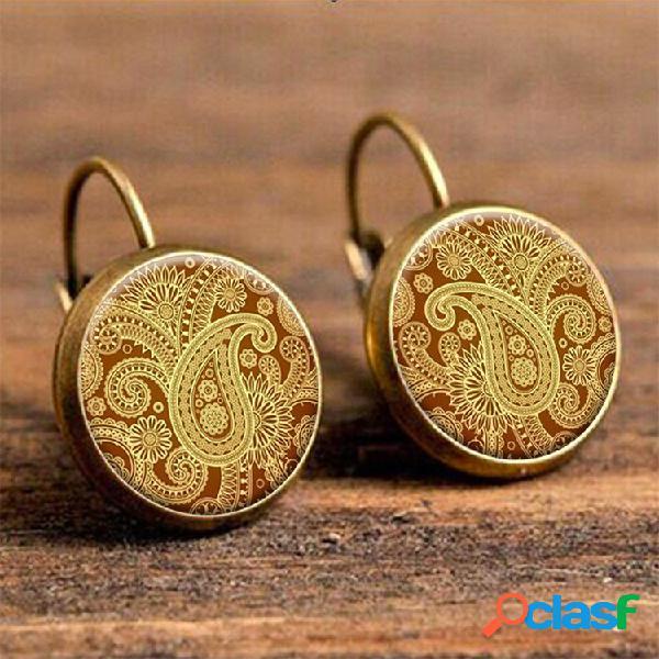 Brincos feitos sob encomenda redondos retros da orelha dos brincos da flor dos brincos de gota redondos para mulheres