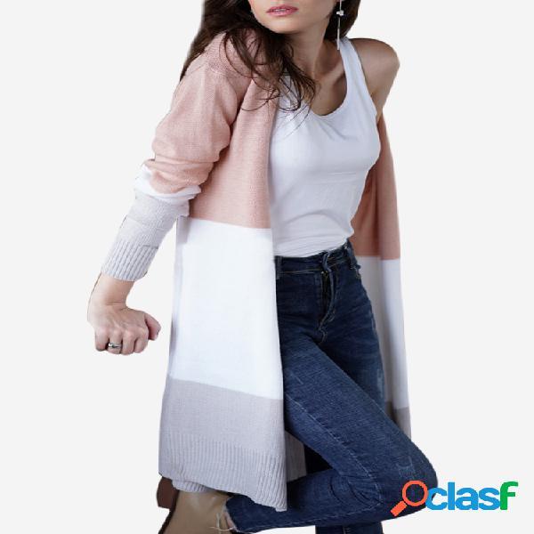 Casual patch listrado manga longa camisola cardigan