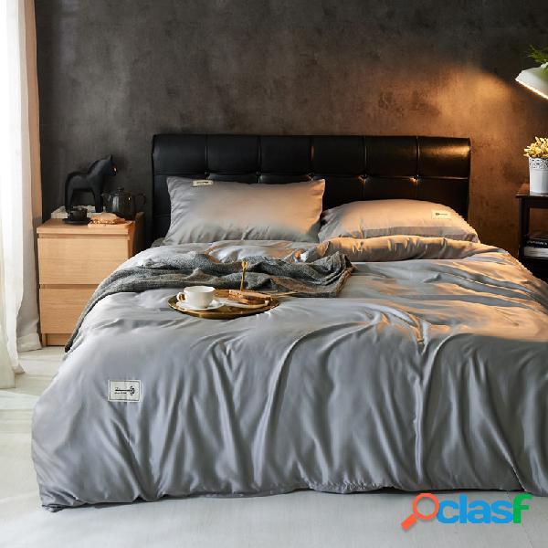 Conjunto de roupa de cama de cetim de seda lavada tamanho ue 4 unidades soft capa de edredom respirável fronha