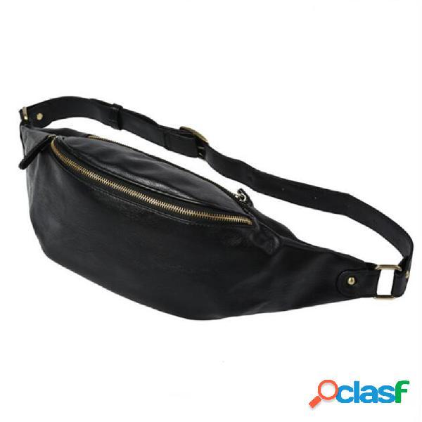 Couro genuíno cintura ao ar livre de grande capacidade bolsa crossbody multifuncional bolsa telefone bolsa