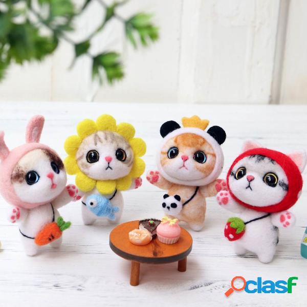 Diy animal bonito gato boneca artesanato de lã feltro não acabado poked kit artesanato kit material bolsa