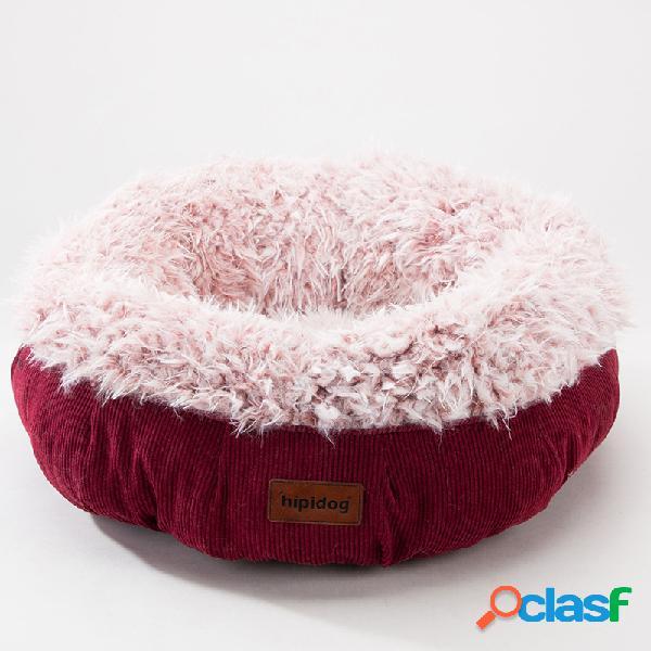 Queque espessado de veludo inverno cama do animal de estimação canil cachorro gato cama quente dormir