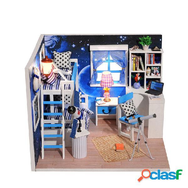 Casa de bonecas diy do espaço cósmico com tampa da música da luz da mobília