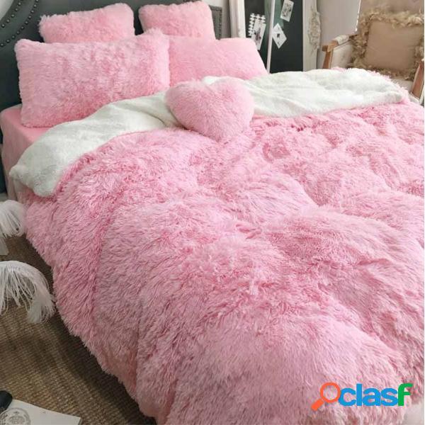Conjunto de capa de cama de pelúcia com 200 cm de comprimento ultra soft conjunto de capa de cama infantil para adolescentes e colcha reversível