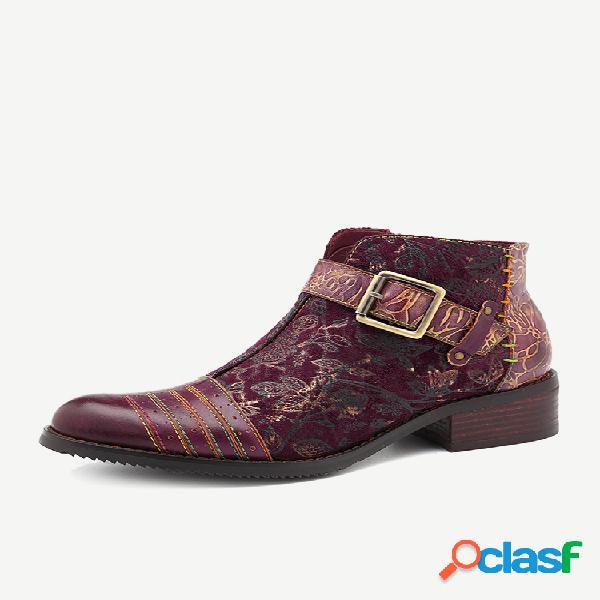 Socofy vintage fivela couro vaca emenda flor reto padrão multicolor costura botas zíper