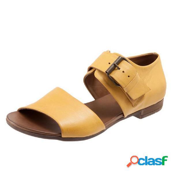 Tamanho grande feminino casual cor sólida fivela plana sandálias