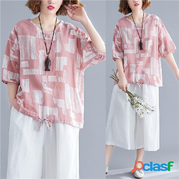 Algodão de impressão geométrica camisa literário roupas tamanho grande feminino