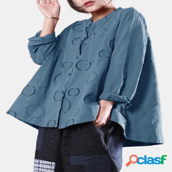 Camisa casual estampa alta baixa com botão de bainha manga longa plus tamanho camisa