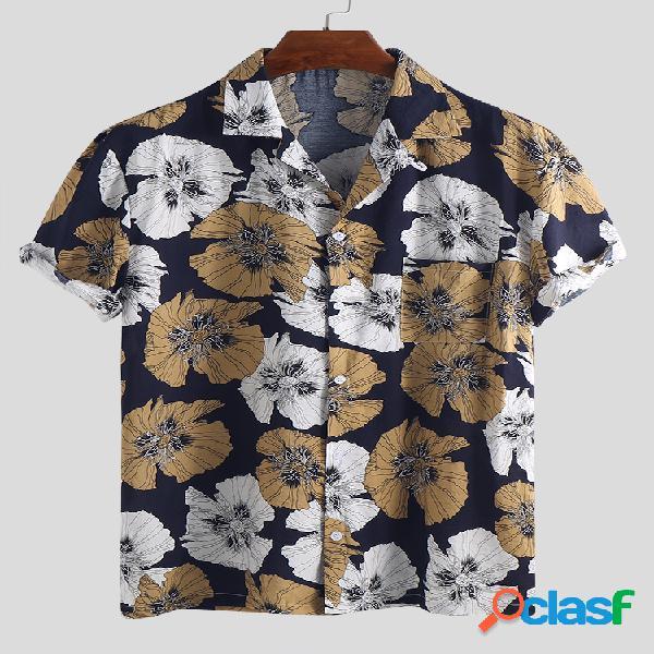 Camisas masculinas de férias havaianas com estampa floral casual gola virada para baixo de manga curta