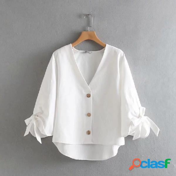 Cor sólida arco nó v-neck camisa de manga comprida casual solta para as mulheres