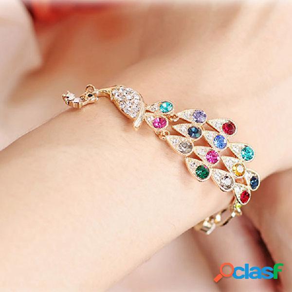 Moda colorful pulseira de pavão pulseira de strass brilhante para as mulheres