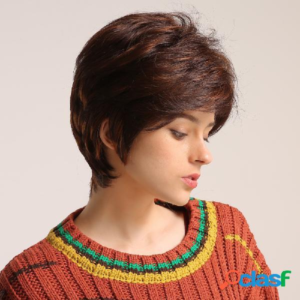 Perucas sintéticas de 10 polegadas moda marrom mistura de cores perucas resistentes aquecidas de fibra química para mulheres