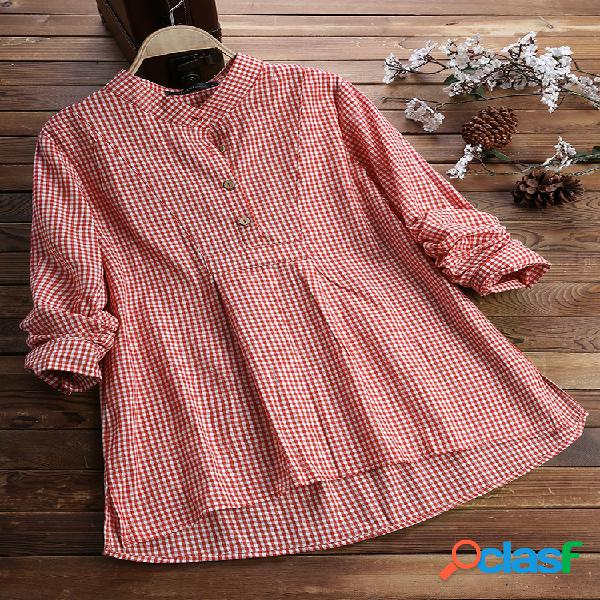 Botão de manga longa xadrez irregular vintage plus tamanho camisa