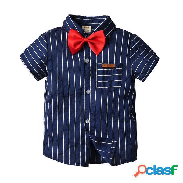 Camisa gentleman cardigan meninos cavalheiro listrado de manga curta camisa casual camisa bow tie two-piece