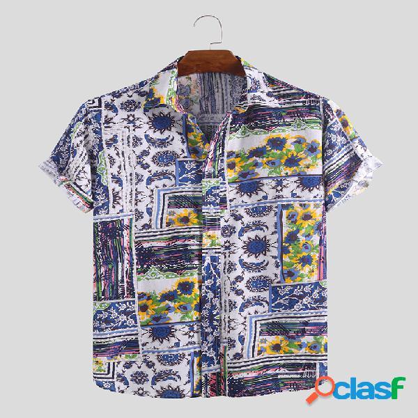 Camisas de manga curta masculina linho de algodão étnico estampado floral com gola virada para baixo