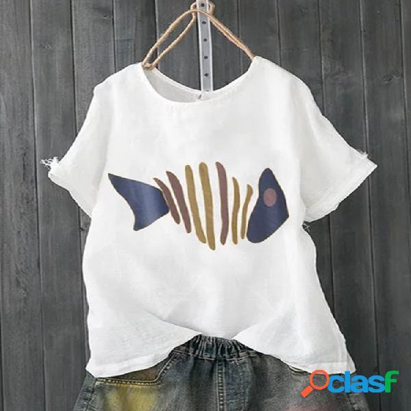 Camiseta casual de manga curta estampa espinha de peixe verão