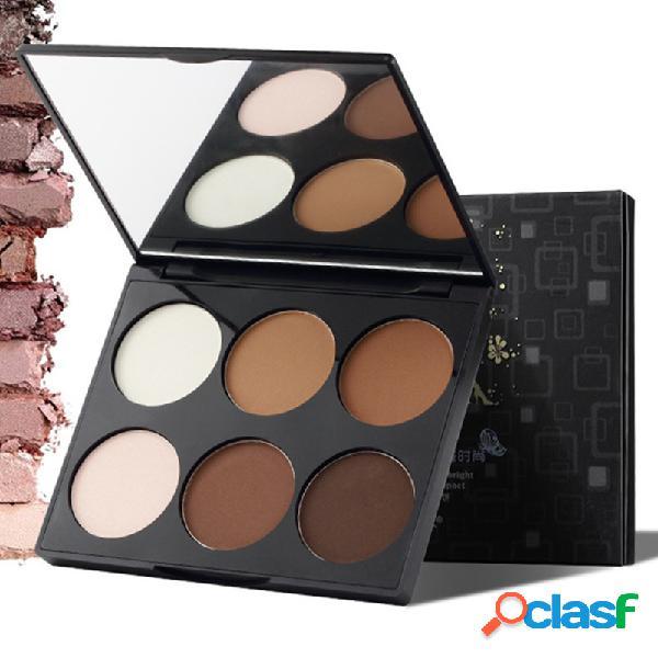 Combinação de sombra de alto brilho de 6 cores sombra de nariz sombra iluminando maquiagens de rosto