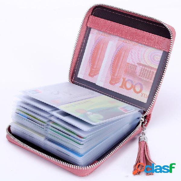 Couro genuíno tassel multi-slots card holder bolsa para mulheres